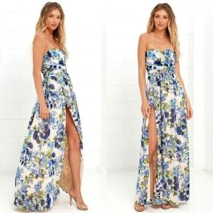 NWT Lulus Serenade Blue Floral Strapless Gown, XL
